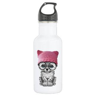Cute Snow Leopard Cub Wearing Pussy Hat 532 Ml Water Bottle