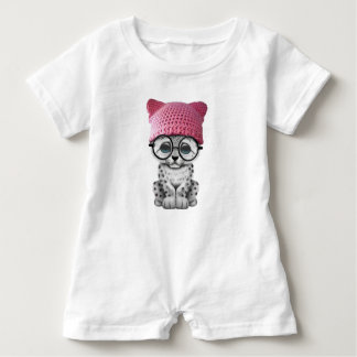 Cute Snow Leopard Cub Wearing Pussy Hat Baby Romper