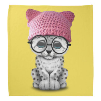 Cute Snow Leopard Cub Wearing Pussy Hat Bandana