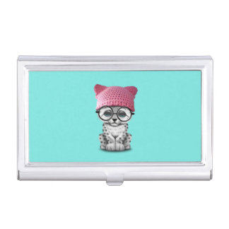 Cute Snow Leopard Cub Wearing Pussy Hat Business Card Holder