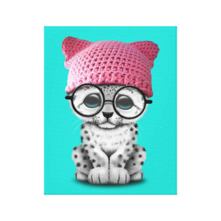 Cute Snow Leopard Cub Wearing Pussy Hat Canvas Print