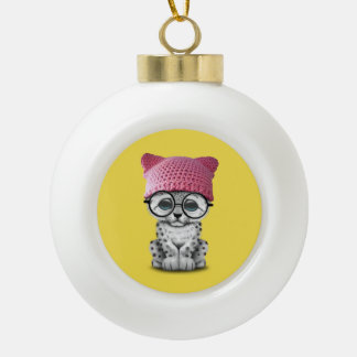 Cute Snow Leopard Cub Wearing Pussy Hat Ceramic Ball Christmas Ornament