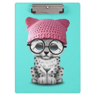 Cute Snow Leopard Cub Wearing Pussy Hat Clipboard