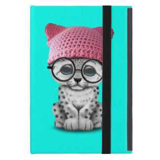 Cute Snow Leopard Cub Wearing Pussy Hat Cover For iPad Mini