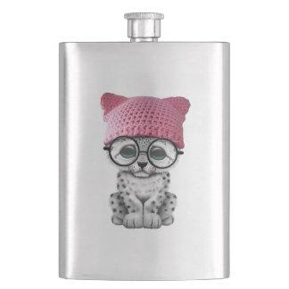 Cute Snow Leopard Cub Wearing Pussy Hat Hip Flask