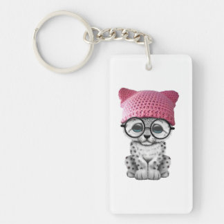Cute Snow Leopard Cub Wearing Pussy Hat Keychain