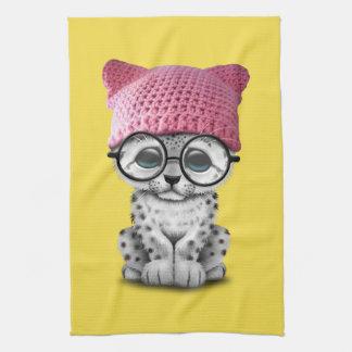 Cute Snow Leopard Cub Wearing Pussy Hat Kitchen Towel