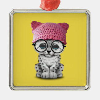 Cute Snow Leopard Cub Wearing Pussy Hat Metal Ornament