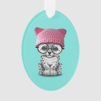 Cute Snow Leopard Cub Wearing Pussy Hat Ornament