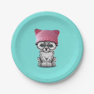 Cute Snow Leopard Cub Wearing Pussy Hat Paper Plate