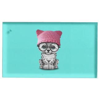 Cute Snow Leopard Cub Wearing Pussy Hat Place Card Holder