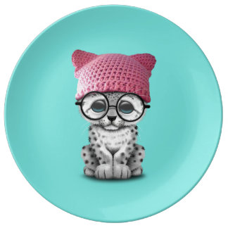Cute Snow Leopard Cub Wearing Pussy Hat Plate