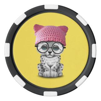 Cute Snow Leopard Cub Wearing Pussy Hat Poker Chips Set