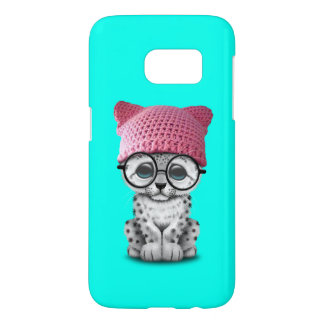 Cute Snow Leopard Cub Wearing Pussy Hat Samsung Galaxy S7 Case