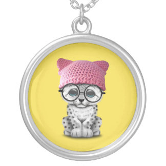 Cute Snow Leopard Cub Wearing Pussy Hat Silver Plated Necklace