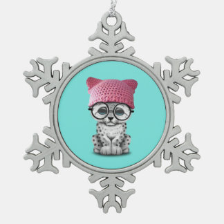 Cute Snow Leopard Cub Wearing Pussy Hat Snowflake Pewter Christmas Ornament