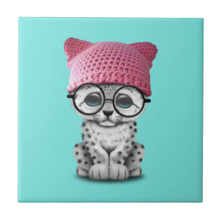Cute Snow Leopard Cub Wearing Pussy Hat Tile