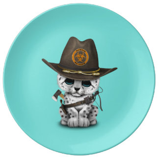 Cute Snow Leopard Cub Zombie Hunter Plate