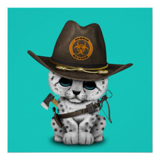Cute Snow Leopard Cub Zombie Hunter Poster