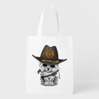 Cute Snow Leopard Cub Zombie Hunter Reusable Grocery Bag