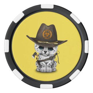 Cute Snow Leopard Cub Zombie Hunter Set Of Poker Chips