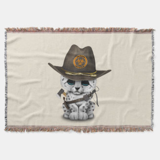 Cute Snow Leopard Cub Zombie Hunter Throw Blanket