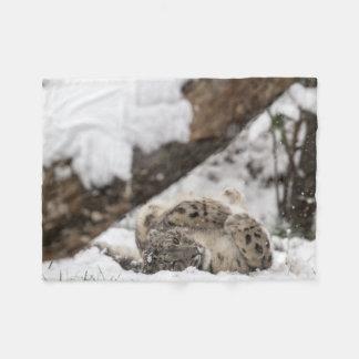 Cute Snow Leopard Plays in Snow Fleece Blanket