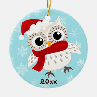 Cute Snow Owl Christmas Ornament