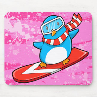 Cute Snowboarding Penguin Mouse Pad