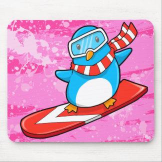 Cute Snowboarding Penguin Mouse Pad