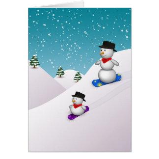 Cute Snowboarding Snowmen - Greeting Card