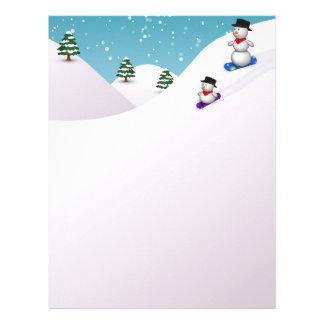 Cute Snowboarding Snowmen - Letterhead