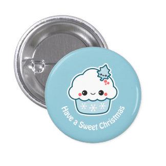 Cute Snowflake Cupcake 1 Inch Round Button
