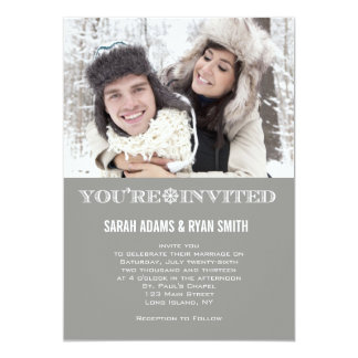 Cute Snowflake Grey Wedding Photo Invitations