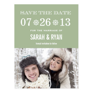 Cute Snowflake Mint Save the Date Photo Postcards