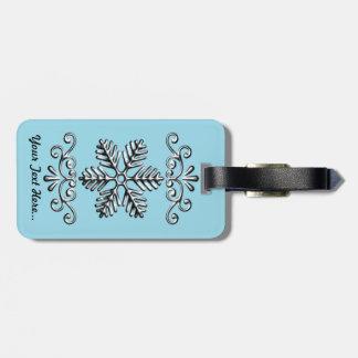 Cute Snowflake On Blue Luggage Tag