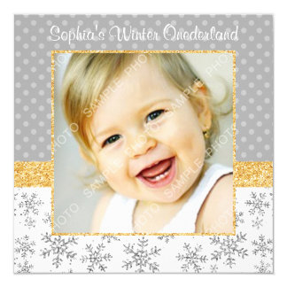Cute Snowflake Silver Gold Winter Onederland Photo Card