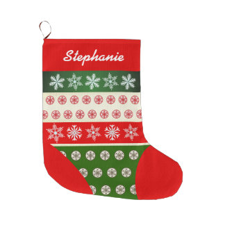 Cute Snowflakes Pattern Large Christmas Stocking