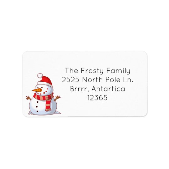 Cute Snowman Address Label