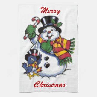 Cute Snowman And Bluebird Kitchen Towel