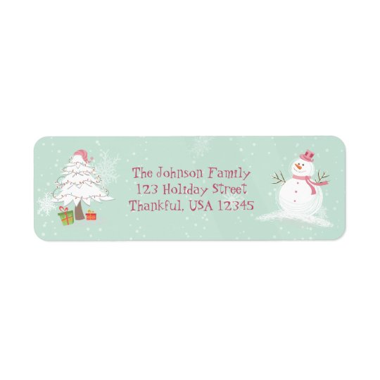 Cute Snowman and Christmas Tree Return Address Label