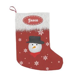 Cute Snowman and Snowflakes - Christmas Stockings Small Christmas Stocking