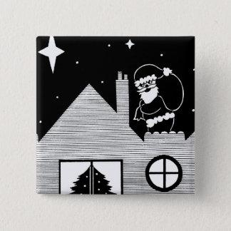 Cute snowman black and white Christmas button