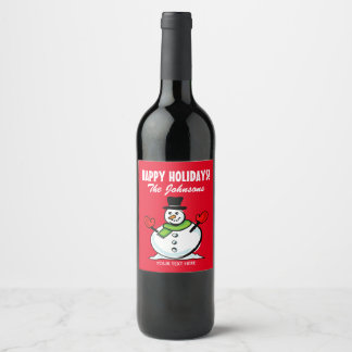Cute snowman Christmas Happy Holidays personalized Wine Label