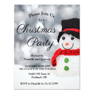 Cute Snowman Christmas Party Invitation