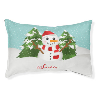 Cute Snowman Drawing With Pet's Name Christmas Pet Bed
