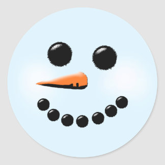 Cute Snowman Face Winter Holiday Snowmen Round Sticker