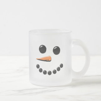Cute Snowman Face Winter Holiday Snowmen Xmas Frosted Glass Coffee Mug