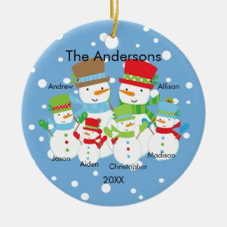 Cute Snowman Family of 6 Christmas Ornament