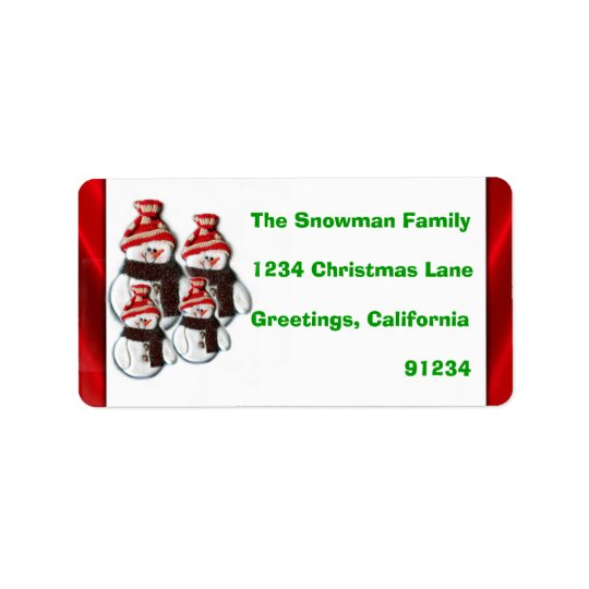 Cute Snowman Family Of Four Return Address Labels